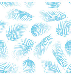 seamless pattern with color blue isolated palm lea vector image