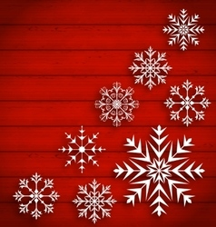 Set Abstract Different Snowflakes on Wooden vector image