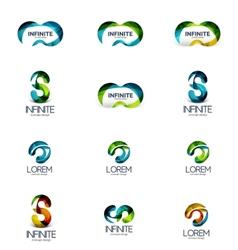 Set infinity and loop company logos vector