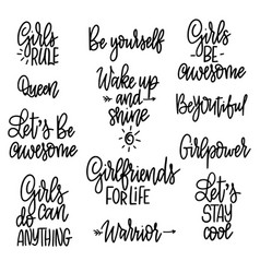 set motivational girl phrases quotes for vector image