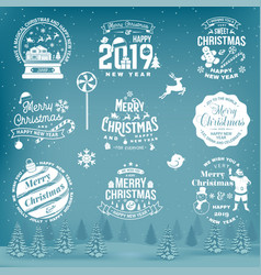 Set of merry christmas and happy new year stamp vector