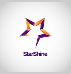 Shiny purple orange star sign symbol logo vector
