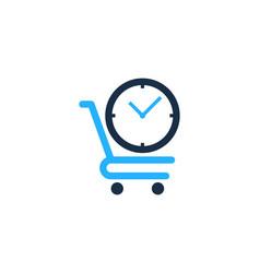 Shop time logo icon design vector