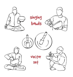 Singing bowls musician set vector image