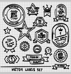 sketch set labels vector image