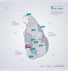 sri lanka map with infographic elements pointer vector image