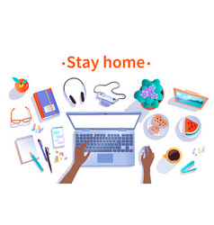 Stay home top view vector