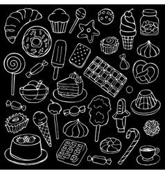 Sweets doodle set vector