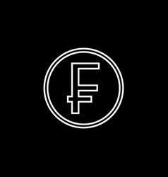 Swiss franc coin line icon finance and business vector