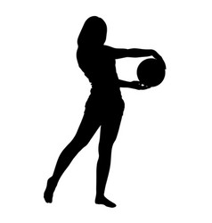 teen girl in sport wear holding ball silhouette vector image