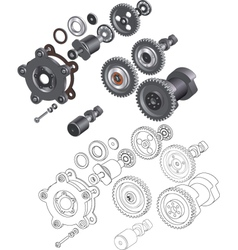 The complete set mechanisms and gears vector