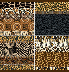 traditional african fabric and wild animal skin vector image