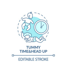 Tummy time and head up turquoise concept icon vector
