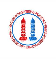 twin pagoda grunge logo vector image