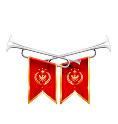 two crossed royal trumpets silver horn triumph vector image