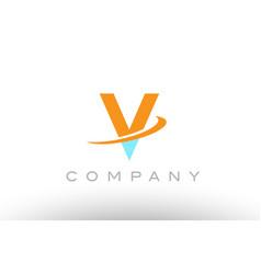 v orange blue logo icon alphabet design vector image