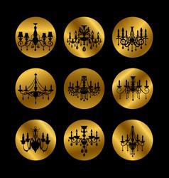 vintage crystal chandeliers vector image