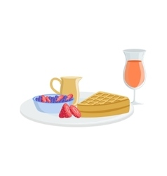 Waffle berry and juice breakfast food drink set vector