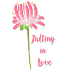 Watercolor flower and word falling in love vector