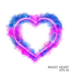 Watercolor magic flaming heart with neon contour vector