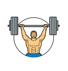 Weightlifter lifting barbell mono line art vector