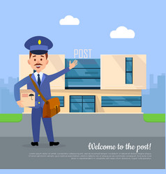 Welcome to post banner postman pointing on office vector