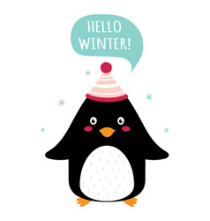 winter card with cute penguin isolated on white vector image