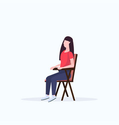 woman hiker sitting in folding chair hiking vector image