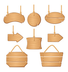 Wooden boards with ropes hanging vector