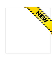 Yellow caution tape with words new vector
