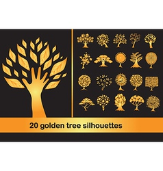 20 golden tree silhouettes vector image vector image