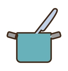 blue pot and knife cook kitchenware vector image