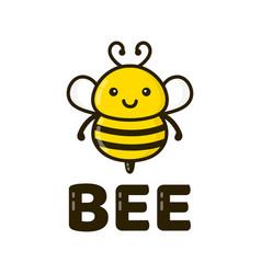 fun cute happy smiling bee vector image vector image