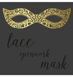 Hand drawn lace openwork gold mask vector image vector image