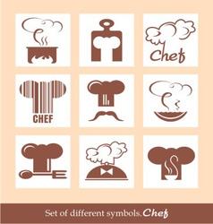 Set of different symbols Chef vector image
