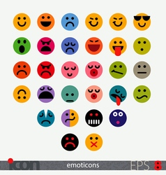 Set of fully geometric emoticons vector image