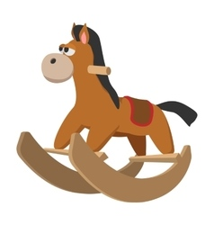 Toy horse with wheels cartoon icon vector image vector image