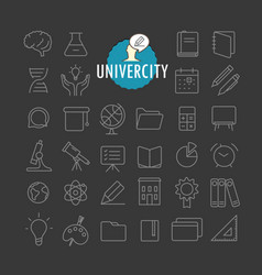 Different education icons collection web and vector