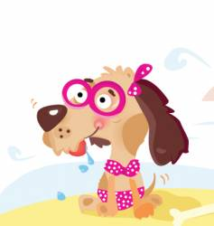 dog on the beach vector image
