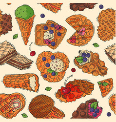 hand drawn waffle cakes cookies pastry biscuit vector image vector image