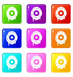 scary eyeball icons 9 set vector image vector image