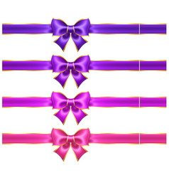 silk ultra violet and pink bows with golden vector image