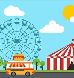 Amusement theme park flat design vector image