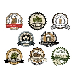 Brewery and beer labels vector image vector image