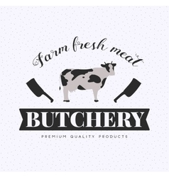 Butcher Shop Logo Meat Label Template with Cow vector image vector image