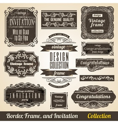 Calligraphic Element Border Corner Frame and vector image vector image