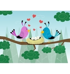 Couple of birds and hearts pattern on love vector image