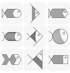 Set of black fish icons on white background vector image vector image