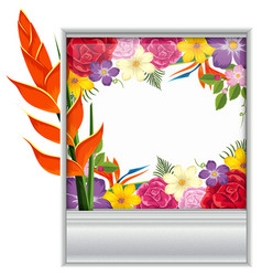 border template with colorful flowers vector image vector image