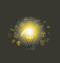 bright lightbulb with media doodle icons vector image vector image